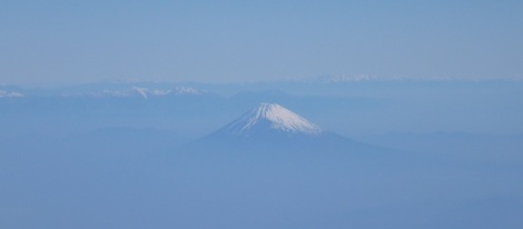Japan's Mount Fuji glistens from our airplane window.