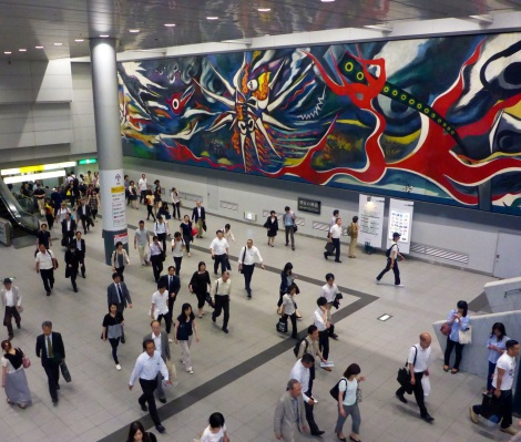 Japan, especially Tokyo, has its fair share of artists. Here we see a striking, thought provoking mural at Shibuya Station.